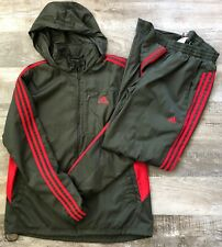 Adidas Mens Climalite Track Suit Large Jacket / Medium Pants Color: Olive/Red