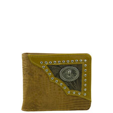 BROWN VEGAN ALLIGATOR LEATHER VIRGIN MARY EMBLEM MENS BIFOLD ID WALLET WEST WOLF