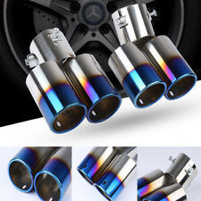 Blue 1to2 ID 2.5''/60mm Car Dual Exhaust Pipe Muffler Tip Tail Stainless Steel