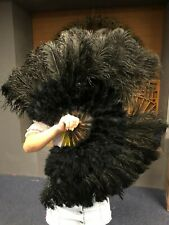 "black 21"" x 38"" Marabou Ostrich Feather fan with Travel Bag"