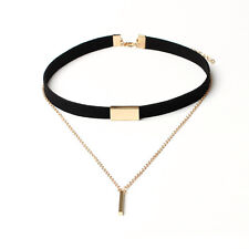 Fashion Black/Brown Velvet Choker Necklace Gold Plated Chain Pendant Necklace