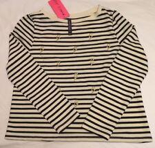 Betsey Johnson Embroidered Cream/Black Stripe Lighting Bolt Pullover Top - M NWT
