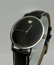 Mens Authentic Swiss Movado Zenith Black Museum Date Dial Vintage Retro Watch
