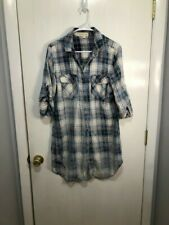 Cloth & Stone Tunic Dress Plaid Flannel Blue White Pink Women's Size Medium