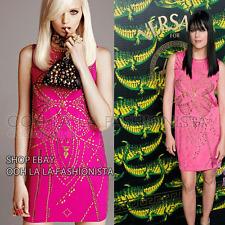 VERSACE X H&M NEW rare MINI DRESS PINK GOLD STUDDED CELEBRITY DESIGNER H & M