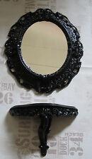 Espejo de pared + Consola OVAL Set Barroco ANTIGUO 44x38 negro Nero 1