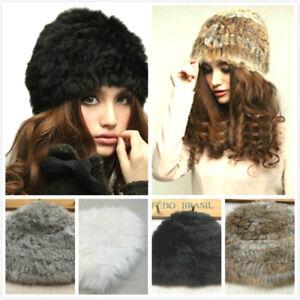Womens Russian Real Fur Hat Rabbit Mink Beanie Soft Cossack Hat Winter Ski Cap