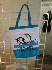 Hand-painted Drawn Dolphins & Whales Totes Kid Art Hippie Blue Teal Hand bag