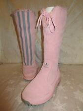 ADIDAS Womens PINK TREFOIL AROSA Tall SUEDE Fleece Lined BOOTS Shoes 7 *WORN 1X!