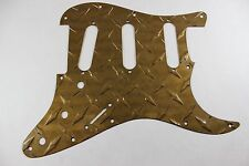 Gold Aluminum Diamond Plate SSS Strat Pickguard Fits Fender Stratocaster USA