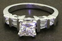 EGL USA Platinum 1.30CTW diamond wedding/engagement ring w/ 1.0CT ctr. size 5.25
