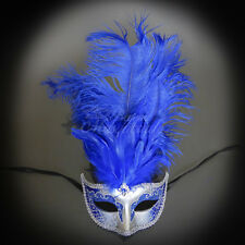 Masquerade Mask Feather, Royal Blue Silver Mardi Gras Venetian Ball Mask M6151