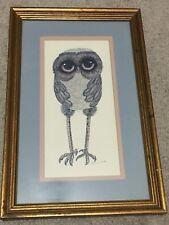 RARE VINTAGE 1970'S GLENN HEATH THE OWL MAN PRINT Mid Century OWL