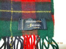 JOHNSTONS OF ELGIN 90% Merino Wool 10% Cashmere Plaid Scarf - MADE IN SCOTLAND