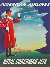 American Airlines Royal Coachman England Great Britain Vintage Travel Poster