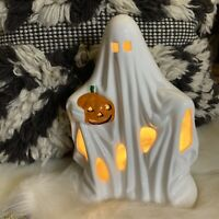 Vintage 1970s Ghost with Jack O Lantern Lamp Light Ceramic Halloween PR Co 74901
