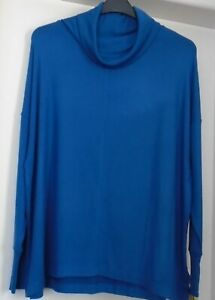NWT LADIES NEXT SIZE 22/24 BLUE COWL NECK LONG STRETCH COSY JUMPER