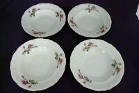 "4 Vintage Wawel Pink Moss Roses Pompadour Gold Trim Soup Bowls 8-1/8""  MINT"