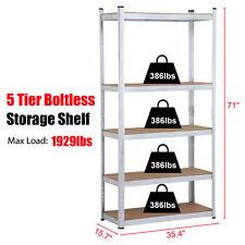 5 Level Heavy Duty Storage Rack Adjustable Shelves Garage Steel Metal Shelf Unit