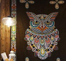 Indian Owl Mandala Tapestry Wall Hanging Bedspread Boho Art Blanket Throw Mat