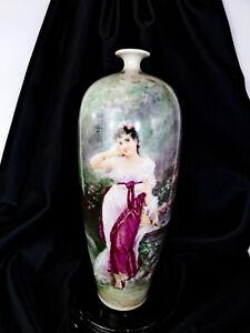 """Antique Ceramic Art Company Lenox Belleek 12"""" Portrait Vase Art Nouveau Woman"""