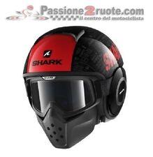 Casco moto Shark Raw Drak Tribute KRA nero rosso black red taglia M