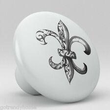 Fleur de Lis Ceramic Knobs Pull Kitchen Bathroom Closet Drawer Cabinet 131