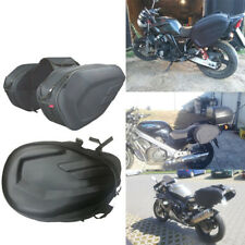 Black Saddle Bags Set of 2 Expandable Throw Over Panniers Motorcycle Luggage Bag