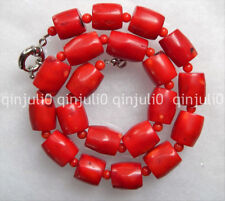 100% Genuine natural Vintage Estate Chunky Red Coral Barrel Bead Necklace 18""