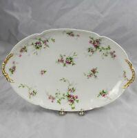 """Charles Field Haviland GDA Limoges Pink Wild Roses Oval Serving Platter 17"""""""