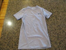 Under Armour Shirt YLG gray Large Youth Fitted Heat Gear Logo UA girl's boys