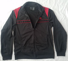 Black / Red Striped Zippered Athletic Running Jacket - Small Mens Starter
