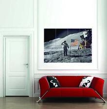 SPACE MOONWALK ASTRONAUT ARMSTRONG ALDRIN FLAG USA POSTER ART PRINT BB3256B