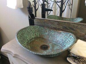 Rustic Green Patina Aged Copper Bathroom Sink Bathtub Boat Canoe Wash Basin Bowl