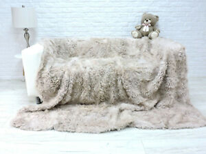 LUXURY REAL TOSCANA FUR THROW KING SIZE FUR BLANKET SHEEPSKIN SOFA COVER 373