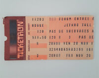 JETHRO TULL 11/20/1987 The World Tour Concert Ticket Stub Montreal Aqualung