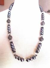 Amy Kahn Russell Grey Pearl Faceted Quartz and Sterling Long Necklace