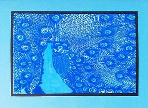 5 Handmade Peacock Cards on Turquoise with Envelopes Linocut Bird Peahen Blue
