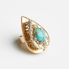 SAMANTHA WILLS New Nightfall Lustre Ring Gold & Turquoise One Size Tags Pouch
