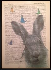 Vintage Grey Hare Butterflies Print Dictionary Book Page Wall Art Picture Rabbit