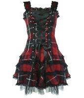HELL BUNNY RED BLACK TARTAN HARLEY MINI DRESS PUNK GOTH BIKER 8-16 NEW TAGS