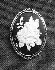 Flor Hada camafeo en tono plata envejecido configuración 50mm