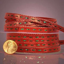 Center Stitch Metallic Ribbon 1/4 inches wide RED / GREEN price for 3 yards