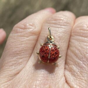 VINTAGE ESTATE  14K GOLD ENAMEL LADY BUG  PENDANT 21x12 mm
