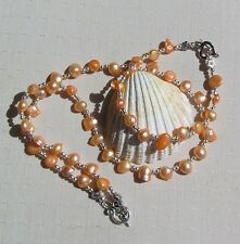 "Necklace & Bracelet Set, Apricot Freshwater Pearl and Sterling Silver ""Kashmir"""