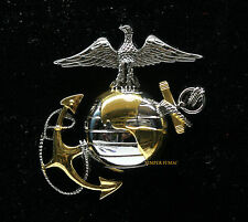EAGLE GLOBE & ANCHOR SILVER GOLD XL HAT PIN US MARINES VETERAN COVER VEST GIFT