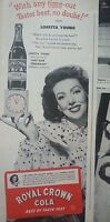 1940s Royal Crown RC Cola Soda Bottle Hand Clock Loretta Young Original Ad