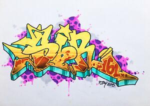 PJAY 'NYC Graffiti legend' Original Drawing on paper 2015  COA - Street Art