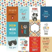 """Echo Park I Love My Cat - 3x4 JOURNALING CARDS 12x12"""" d/sided scrapbooking paper"""