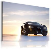 BUGATTI VEYRON BLACK SUNRISE Car Large Wall Art Canvas Picture  AU4 MATAGA